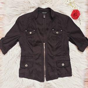 White House Black Market Black Bomber Jacket